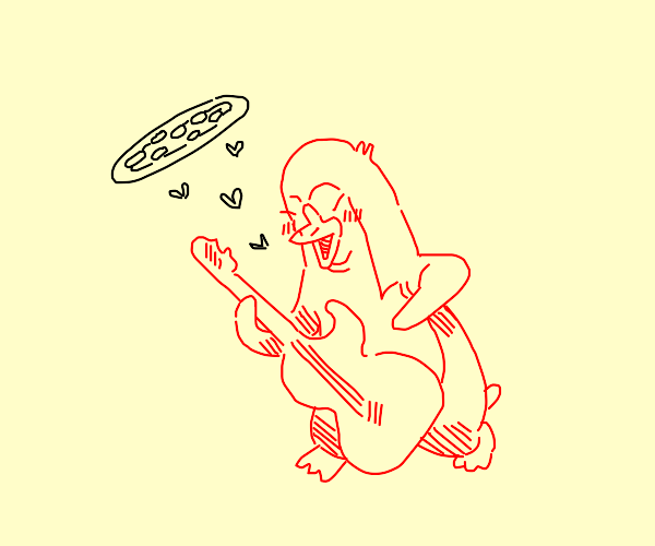 Red penguin jamming with pizza