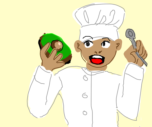 Baker eating an Avocado