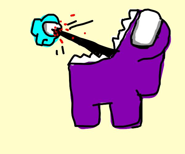 Purple (Among Us) kills Mini Crewmate. - Drawception