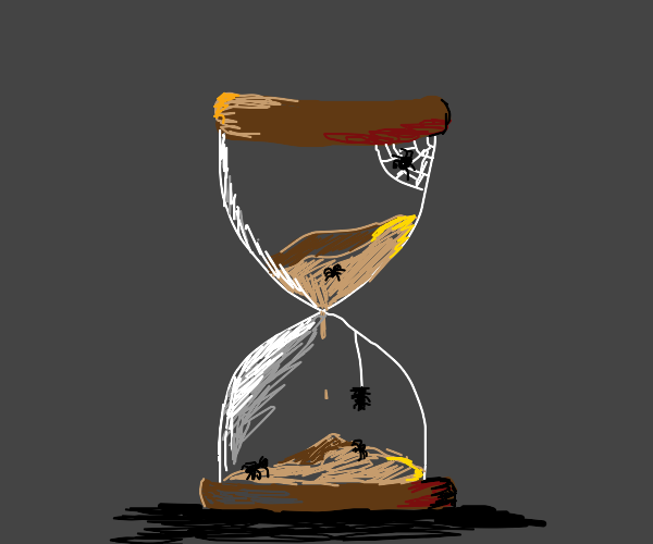 hourglass with spiders in it