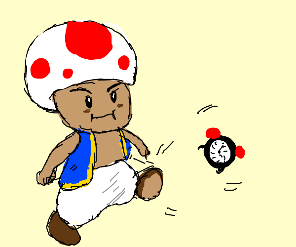 Toad kicking a Clock