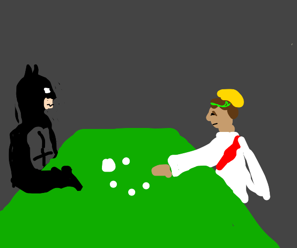 jesus and batman at thee poker table