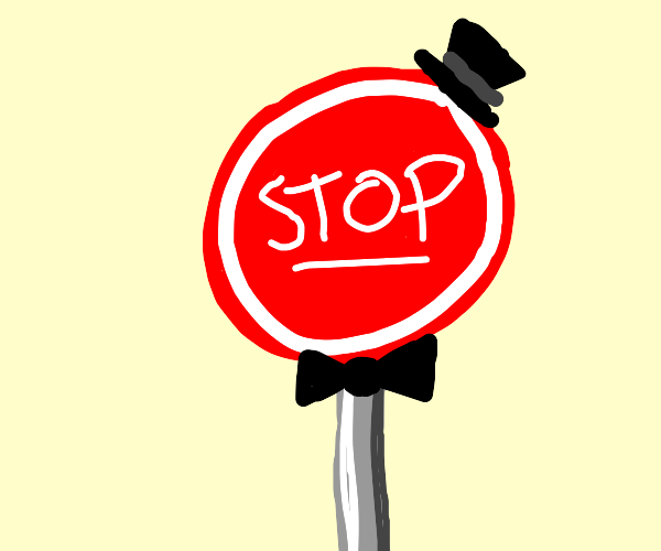 Stop Sign wearing a Hat