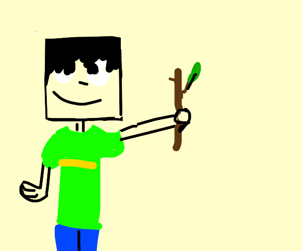 A person with a square head holding stick