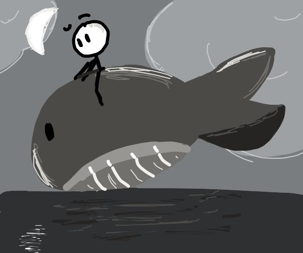 Stick guy rides a whale