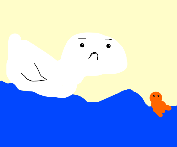 a swan with a human facee