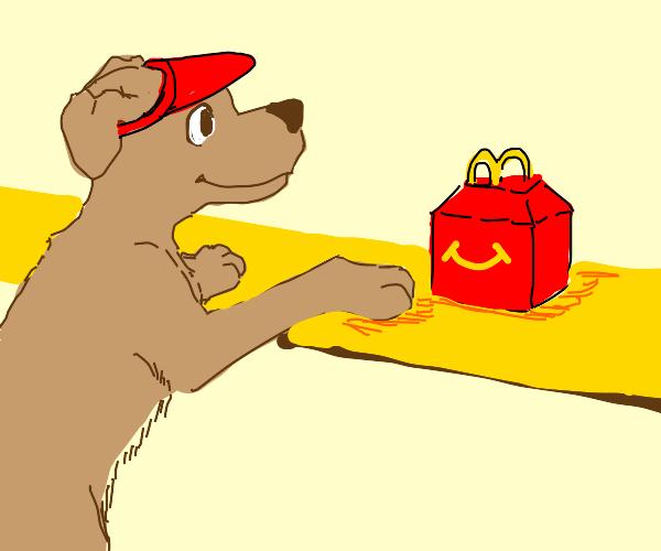Dog serves mcdonald's meal