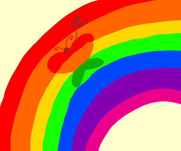 Butterfly trapped in rainbow