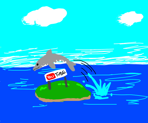 Dolphin jumping over YouTube island