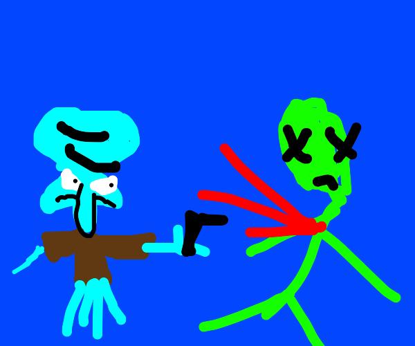 Squidward shoots an alien
