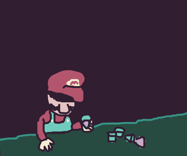 Mario is Dejected... &Thus, Drinking too Much