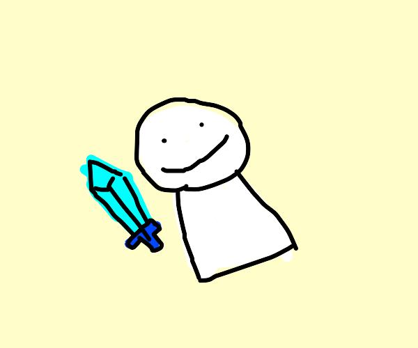 minecraft Dream holding a diamond sword