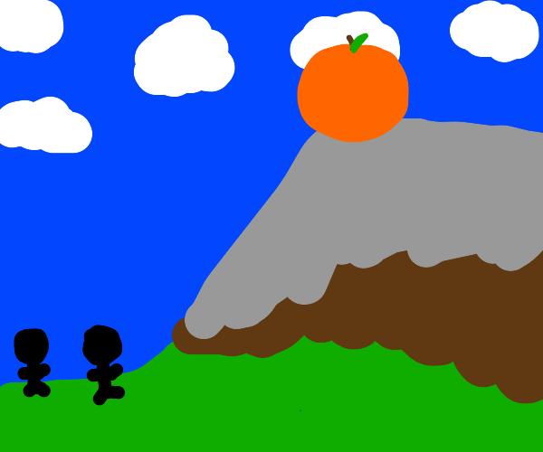 Giant orange atop a mountain
