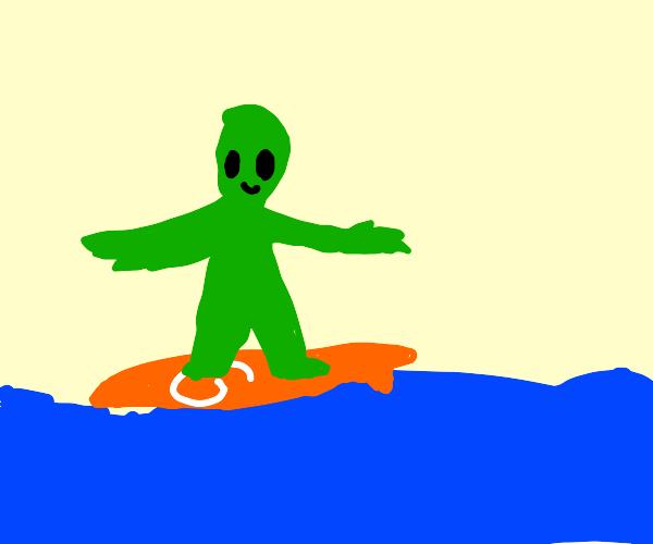 Alien surfing on water