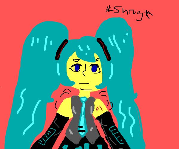 Hatsune Miku shrugs her shoulders