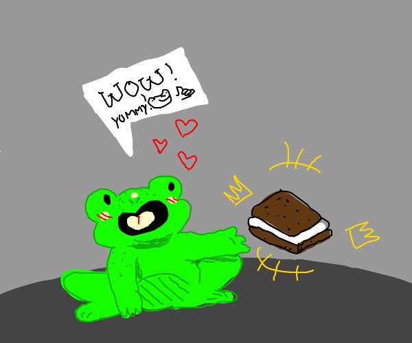 frog discovers klondike bar- is amazed
