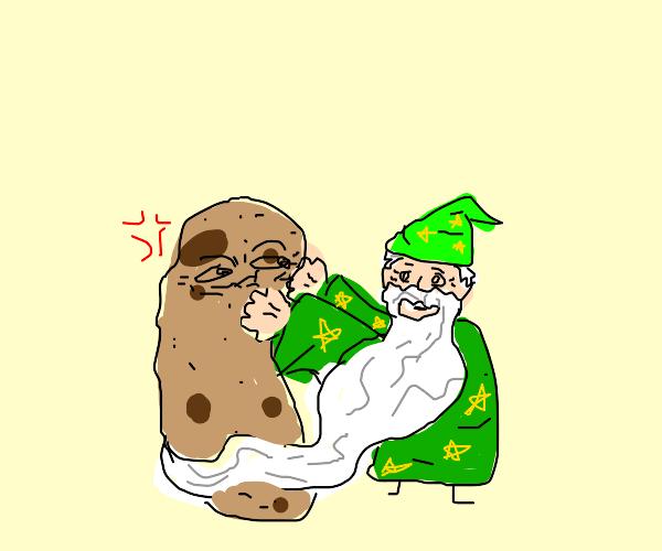 Small wizard hugs potato