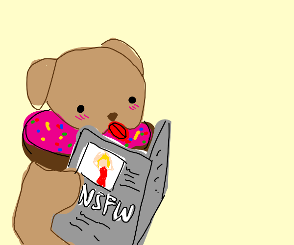 Dog donut reads about nsfw news articles