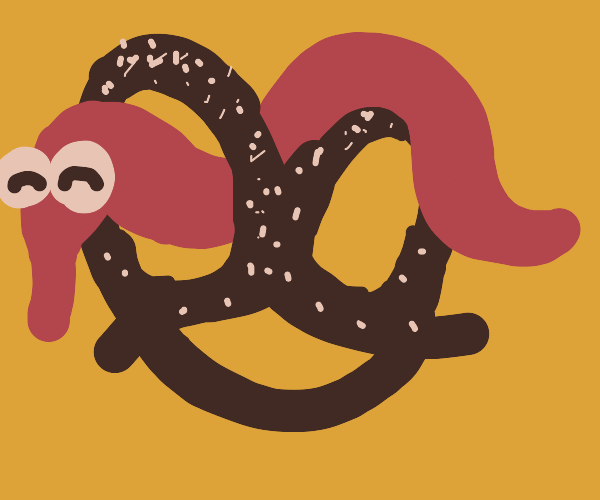 Worm on a string enjoys big pretzel.