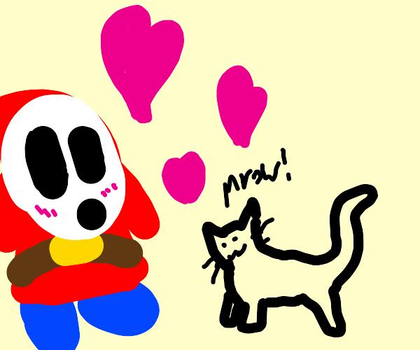 Shy guy (Mario) loves kitties