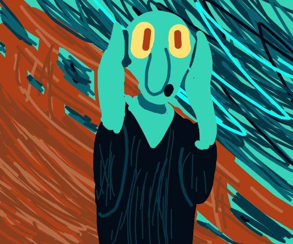 "Squidward in ""Scream"" paintingby Edvard Munch"