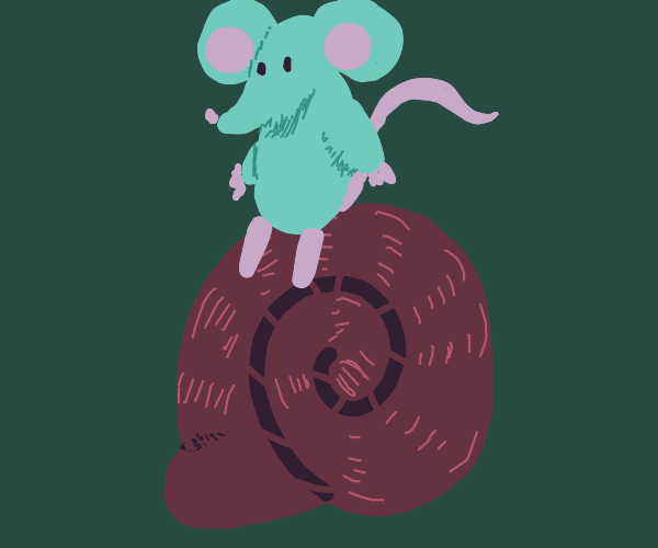 Mouse sitting on a snail shell