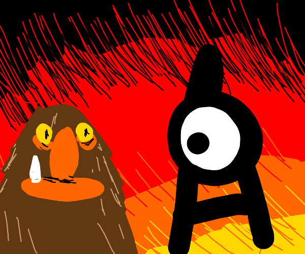 Muppets Sweetums and Unown pkmn in hell