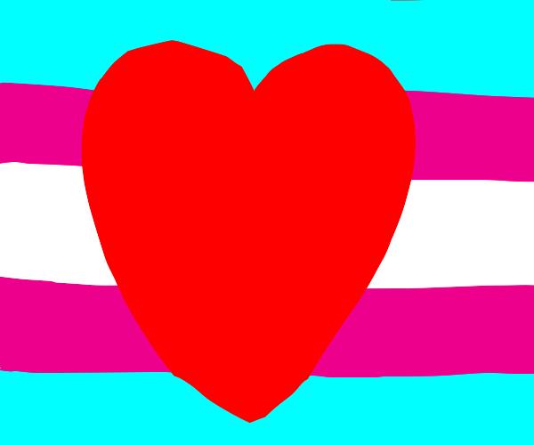 Trans flag w/ a heart