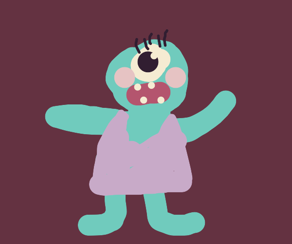 A Blue Monster in Makeup and a Pink Dress