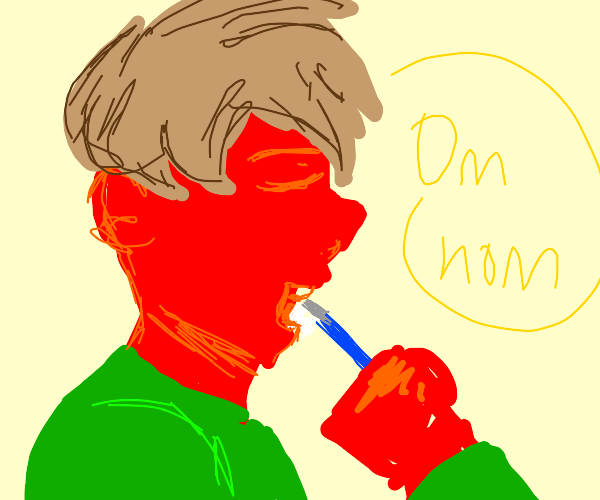 a red man eats his toothbrush