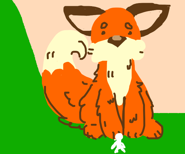 Large fox above tiny human