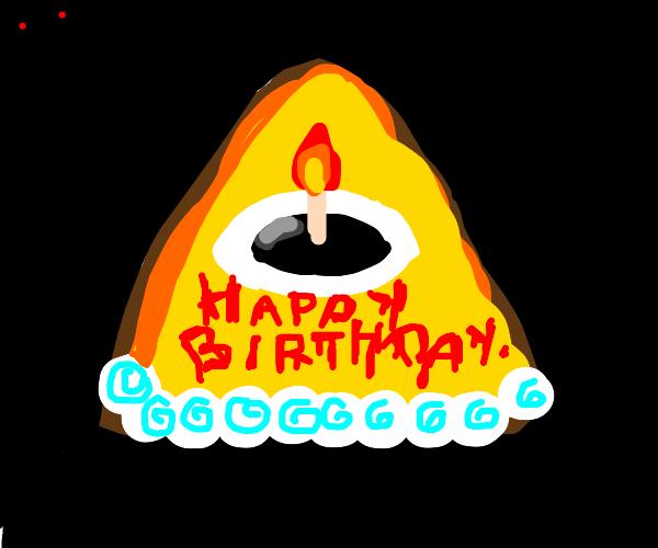 Illuminati birthday cake