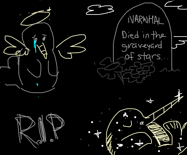 grey dead narwhal in space