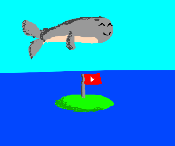 Dolphin jumps over the tiny island of YouTube