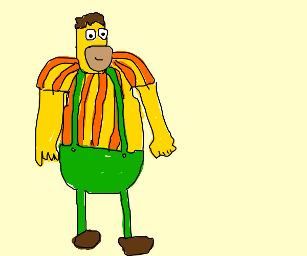 Homer Simpson cosplays as Carl Wheezer