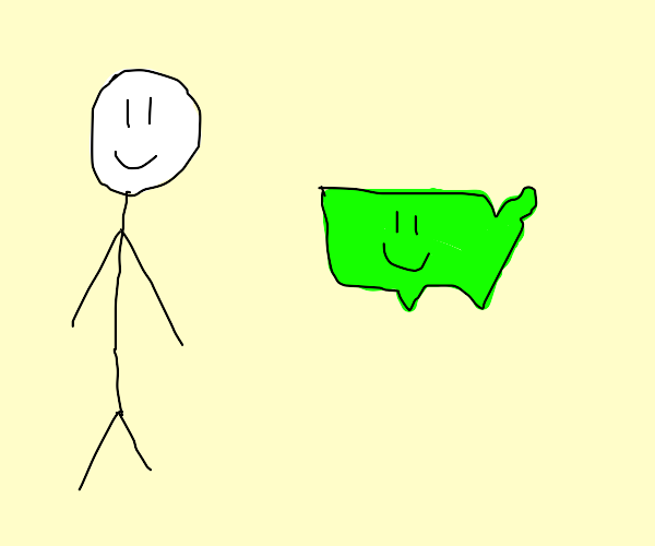 A stickman following happy america