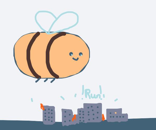 giant bee from bee movie terrorizing city