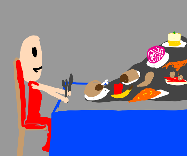 Skinny girl eats a ton of food