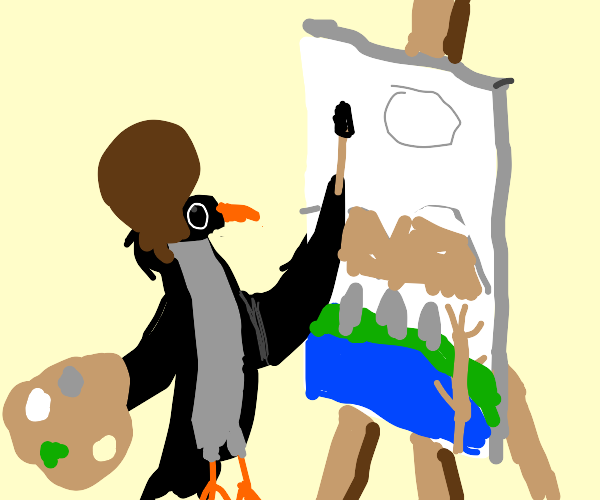 Bob Ross, but a crow