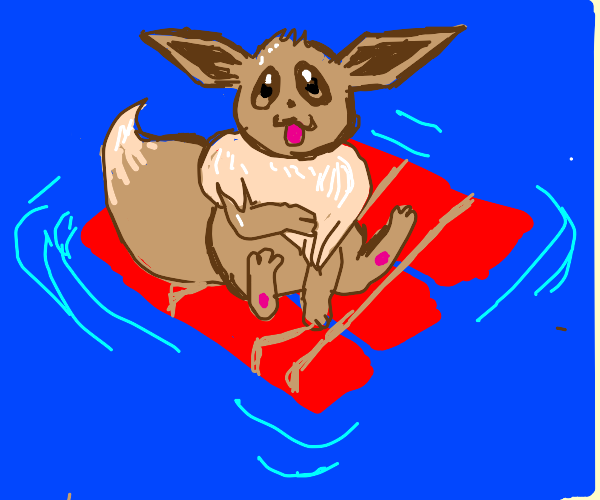 Eevee fiercely smiles on a raft