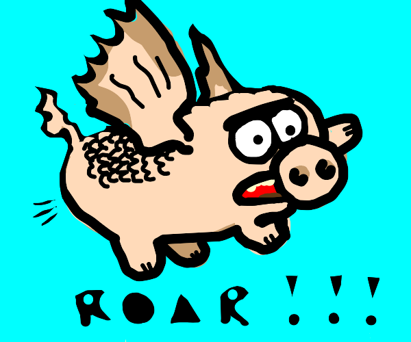 Pig dragon flying and roaring