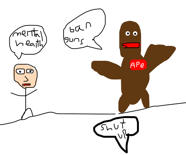 An ape and a human in an intense debate