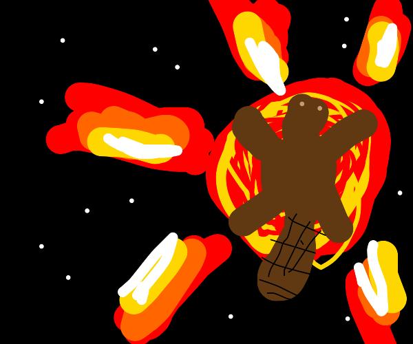 Giant beaver hugging an exploding Sun