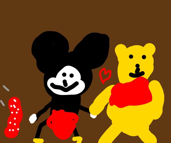 Mickey cheats on Minnie with Winnie the Pooh