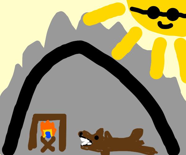 A cave with a bear rug