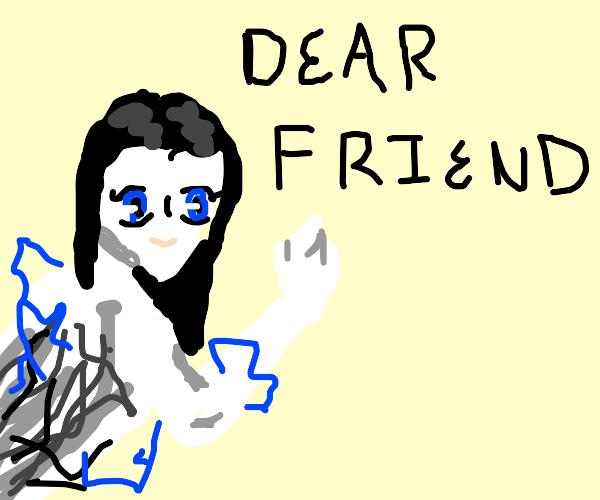 Anime sprite writes dear friend