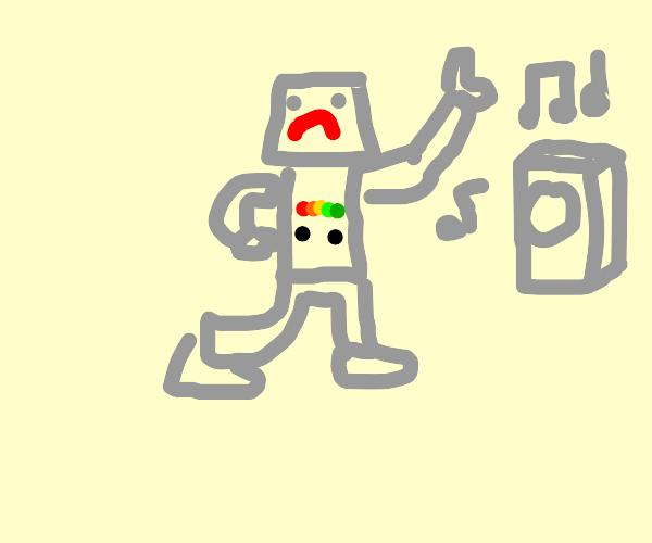 grumpy robot dances to music