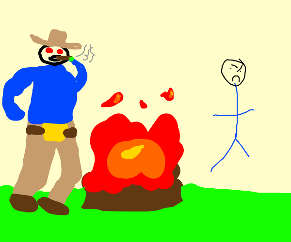 Cowboy doing drugs with sheriff near campfire