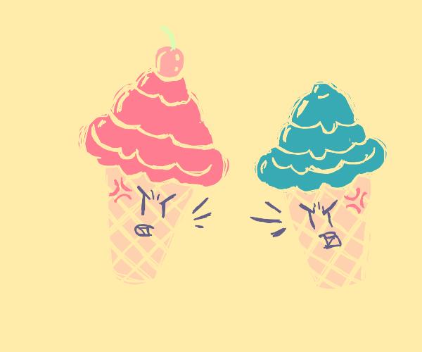 Two ice cream cones arguing