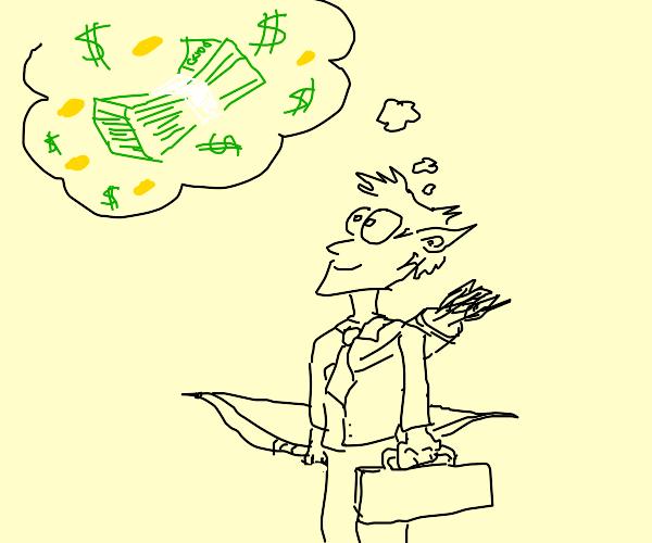 Corporate Elf dreams of money